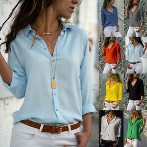 Womens Casual Work Office Tops Shirt Ladies Long Sleeve Tee Blouse Plus Size UK