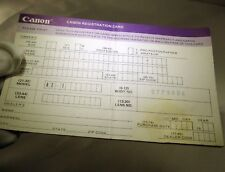 Canon Ae-1 camera Registration Card Owners record 1970's vintage