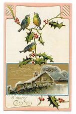 VINTAGE CHRISTMAS POSTCARD BLUEBIRDS BIRDS SNOW COVERED HOUSE HOLLY BUSHES TREES