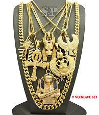 Egyptian King Tut, Anubis, Ankh, Scarab, Horus Bird Cuban Chain 7 Necklace Set