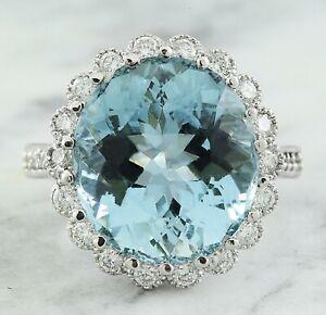 11.62 Carat Natural Aquamarine 14K White Gold Diamond Ring