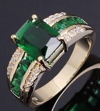 Fashion Size 9 Man Woman Emerald 18K Gold Filled Fashion Classic Wedding Ringss