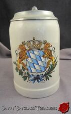 Vintage Marzi Remy Germany Bavaria Armorial Crest Stein with Pewter Lid