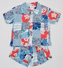 Baby Gap Red White Blues Multi-Pattern Patchwork Top & Shorts, 12-18 mos.