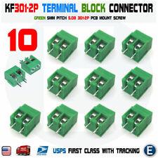10PCS KF301-2p 5.08mm 2 Pin Plug-in Screw Terminal Block Connector 5mm Green