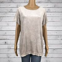 Green Tea Velour Exposed Seam Knit Trim Tunic Shirt Top LARGE Champagne Beige