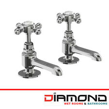 Burlington Bathrooms Stafford Traditional Long Nose Basin Taps Chrome STA12