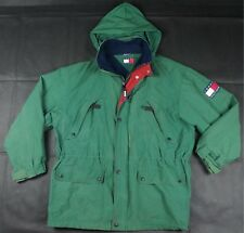 Rare TOMMY HILFIGER Spell Out Patch Fleece Lined Hidden Hood Lotus Jacket 90s XL