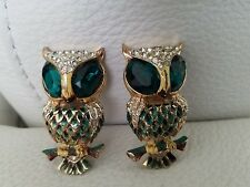Stunning vintage CORO CRAFT STERLING clear green rhinestone Duo Owl Fur Clips