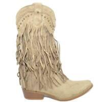 Stivali donna camperos texani beige scamosciati con frange lunghe e borchie west