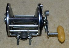 PENN LONG BEACH FISHING REEL MODEL NO.- 68 WITH ROD CLAMP AND YELLOW HANDLE