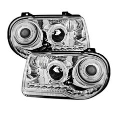 Chrysler 05-10 300C Clear Twin Halo LED Projector Replacement Headlights Pair
