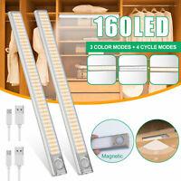 160 LED Closet Light PIR Motion Sensor Cabinet Night USB Rechargeable Wall Lamp