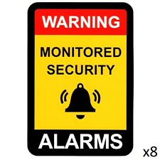 Alarm Warning Sticker, Home Security Vinyl Decal, Burglar House Security Sign x8