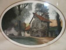 Original Framed Print/Painting - House in Woods - Signed - Fred Levi (?)
