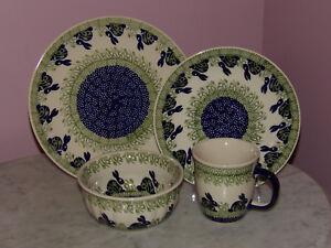 Polish Pottery 16 PC Dinnerware Set! Bunny Pattern!