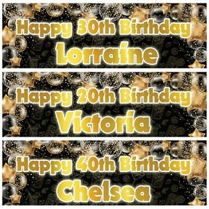 2 personalised birthday banner gold party balloon star -18th 21st 30th 40th 50th