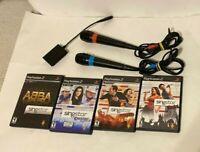 SingStar Bundle Sony PlayStation 2 PS2 Microphone USB ADAPTARS Abba Country NTSC