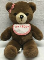 "House of Lloyd Brown Bear Bib Red Gingham Bow 18"" Plush Stuffed Animal"