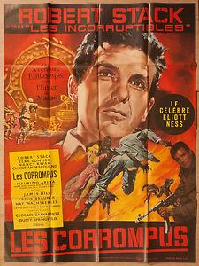 "'ELIOTT NESS - LES CORROMPUS'' FRENCH VINTAGE 1967 CINEMA POSTER  63"" x 47"""