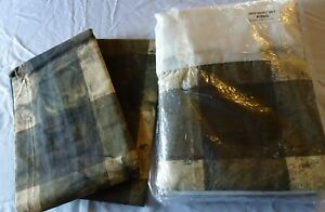 BED SKIRT Size KING & 2 SHAMS NEW NWT Big Squares Olive Greens & Ivory