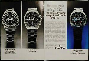 1972 Omega Speedmaster Mark III Official NASA Moon Watch 2 pg Original Print Ad