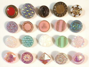 """Lot of 20 Vintage Glass Buttons Mixed Colors Textures All Different 9/16"""" - 7/8"""""""