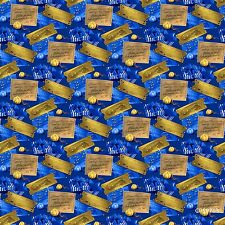Polar Express Ticket & Bell Toss Navy Blue 100% cotton fabric by the yard