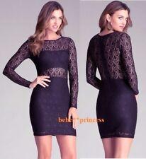 $129 NWT bebe black overlay lace long sleeve cutout lining top dress XS 0 2 sexy