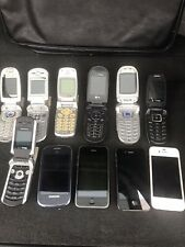 LOT OF 11 ASSORTED OLD USED CELL PHONES SMART iPhone, Samsung, Motorola and LG.