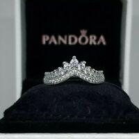 NEW Authentic PANDORA Princess Wish Crown Ring 197736CZ SIZE 5,6,7,8 box/pouch
