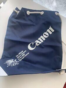 "Vintage Canon Navy 1984 LA Olympics Drawstring backpack 17"" x 12.5"" NOS RARE!"