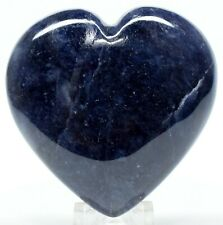 """2.4"""" Blue Iolite Puffy Heart Sparkling """"Water Sapphire"""" Crystal Mineral - India"""