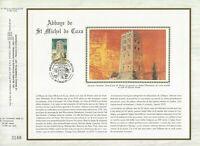 Foglio CEF 1er Giorno Sul Seta Francia Abbazia Di Saint Michel Di IN Alto 1985