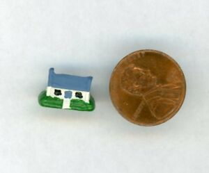 "Miniature Dollhouse DHDH Dollhouse w/blue roof, 3/8"" H X 1/2"" W"
