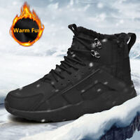 Mens Waterproof Leather Winter Hiking Sneaker Outdoor Snow Warm Fur Inside Boots