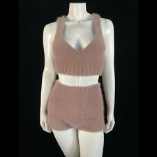 Fuzzy 100% Angora Hand-Knit Beige 2-Piece Retro-Style Top Shorts Set Size S/M