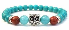 Turquoise Owl Bracelet Unisex Gift Blue Howlite Gift for Him or Her