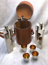More details for high quality vintage leather cased trio of drinking hip flasks & cups