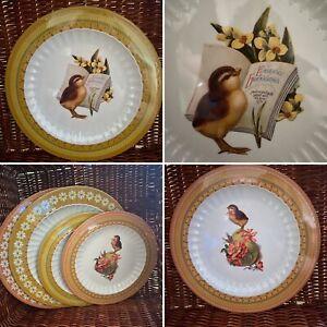 M&S Marks & Spencer Set Of 4 Vintage Style Easter Design Melamine Plates