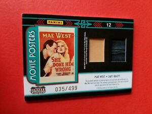 CARY GRANT & Mae West WORN RELIC SWATCH CARD #d35/499 AMERICANA MOVIE POSTERS