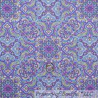 BonEful Fabric FQ Cotton Quilt Purple Blue Green White Flower Damask Paisley Dot