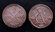 1/2 Skilling 1807 Suède/ Sweden. Gustaf Adolf IV°. Cuivre/ Copper. XF
