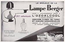 PUBLICITE LAMPE BERGER BRULE PARFUM AZOALCOOL ANTI TABAC DE 1931 FRENCH AD PUB