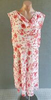 💜 LIZ JORDAN Cocktail Cowl Neck Midi Dress Ivory Red Size 14 Buy7=FreePost L827