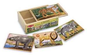 WILD ANIMALS ~ 4-12pc Wooden Jigsaws # 3796 ~ Melissa and Doug