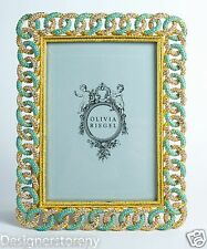 """Olivia Riegel Gold Chandler Chain Photo Frame Picture Photograph Crystals 5x7"""""""