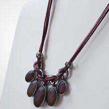 Collier Halskette Statement Kette Vintage Modeschmuck Steinschmuck Silber Rot