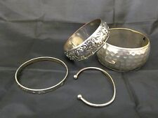Set of 4 white metal bangles hammered torque Summer Santa Fe festival boho hippy