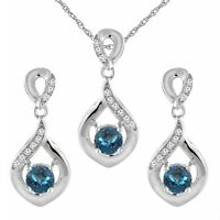 14K White Gold Natural London Blue Topaz Earrings and Pendant Set with Diamonds